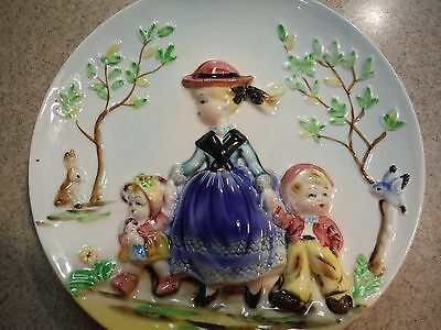 Vintage Set of 3D Raised Relief Wall Plates  Walk in the Park / Sunday Afternoon
