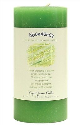 ABUNDANCE candle Crystal Journey CANDLE 3x6 Pillar - Reiki Herbal Magic Pagan