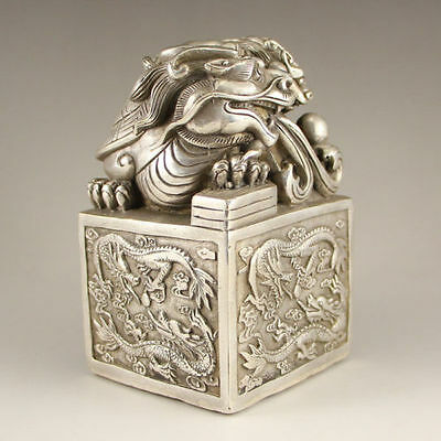 Chinese Tibetan Money collection Miao Silver handmade dragon turtle seal