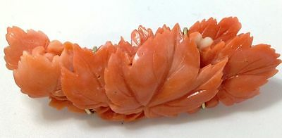 Antique Chinese 14K Gold & Carved Salmon Coral Leaves Brooch (10.4 Grams