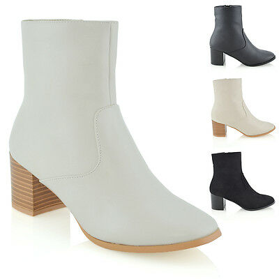 992e3f3e024 Womens Ankle Boots Western Style Block Low Heel Ladies Casual Shoes Booties  Size
