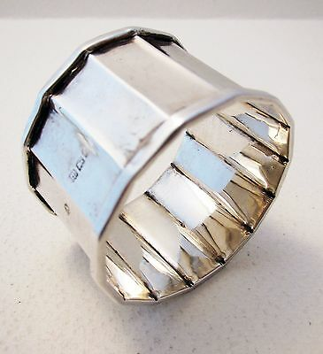 "ANTIQUE ""Faceted"" Solid Sterling Silver English Birmingham Art Deco NAPKIN RING"