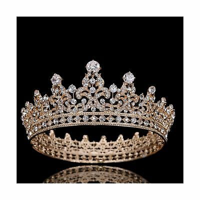 FUMUD Charm Rhinestone Zircon Crown Bridal Tiara Crystal CZ Diadem For Bride ...