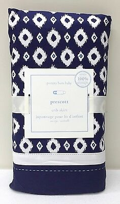 NEW Pottery Barn KIDS Prescott Crib Skirt Nursery Bedding, NAVY