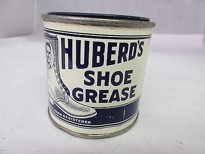 Vintage  Huberd's Shoe Grease Advertising Tin Shoe Repair Collectible   M-973