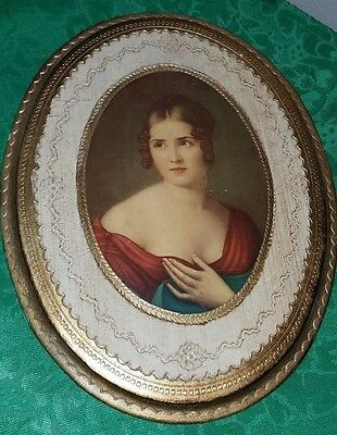 BEAUTIFUL Vtg ITALIAN FLORENTINE Toleware Oval Gold Victorian Lady Plaque~ITALY!