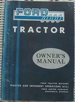 1963 Ford 6000 Tractor Owner's Manual