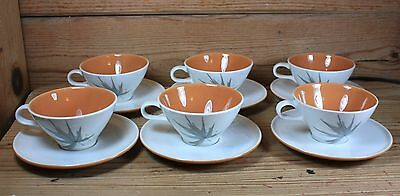 Vintage IROQUOIS Informal China HARVEST TIME Six (6) Cups & Saucers