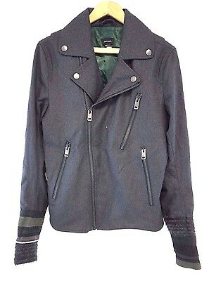 NWT Diesel Men's Charcoal Gray J-GIB-TAPE GIACCA Wool Motorcycle Jacket Large