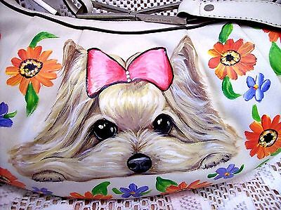 YORKIE HAND PAINTED SHOULDER BAG PURSE Best Realistic CALVIN KLEIN WHITE LEATHER