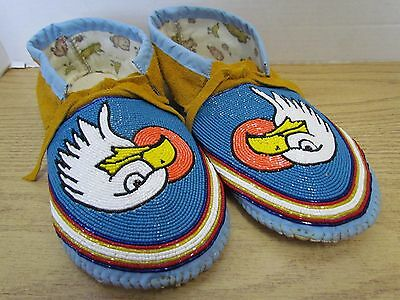 Stunning Full Bead Moccasins, 11 Inches, Eagle, Authentic Native American, Blue