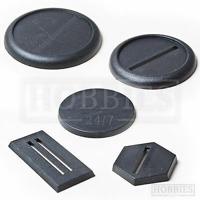 Plastic Bases 20 25 30 40 50mm Round Square Hexagon RPG Wargame Plain Base Stand