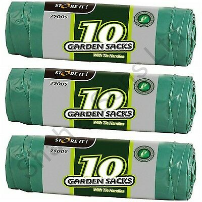 3x10 or 6x10 Large Heavy Duty Green Garden Waste Refuse Sacks with Tie Handles