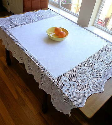 SHAMROCK FLEUR DE LYS White Antique Handmade Lace Damask Tablecloth CANADIAN 56""