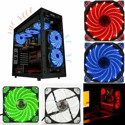 120mm LED Ultra Silent Computer PC Case Fan 15 LEDs 12V Easy Installed M#