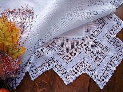 "Scottish Antique White Handmade Lace and Damask Tablecloth 40"" Square SCOTLAND"