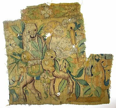 An Early Tapestry Fragment Depicting a Four Legged Fantastic Animal