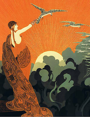 ART DECO LADY WITH FALCONS. A 3 SIZE. Poster print.