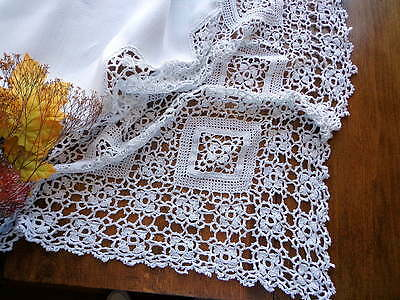 "Scottish Antique 56"" White Linen Tablecloth - LAVISH 11"" Handmade Lace SCOTLAND"