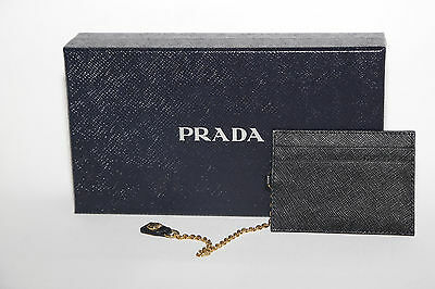 Authentic PRADA Black Leather Credit Card ID Holder Wallet