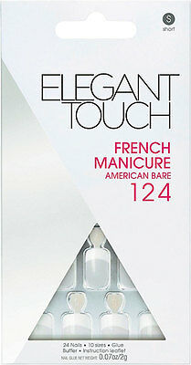 Elegant Touch Natural French Glue-On Nails 124 Short Bare 24 Pack