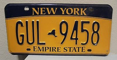 2012 New York  Empire State Gold License Plate Gul 9458 Used