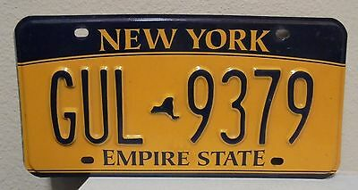 2012 New York  Empire State Gold License Plate Gul 9379 Used