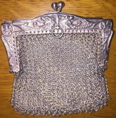 Chatelaine 1800's Mesh Coin Purse Antique Sterling Silver 34.2G Dragons Rare VTG
