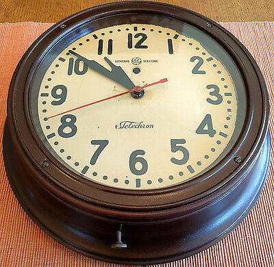 """Vintage 1930s Telechron General Electric GE 12"""" Commercial Wall Clock"""