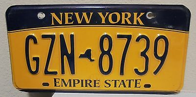 2012 New York  Empire State Gold License Plate Gzn 8739 Used Expired