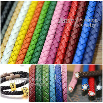 Real Braided Round Leather Cord 3,4,5,6mm String Lace Thong Jewellery DIY