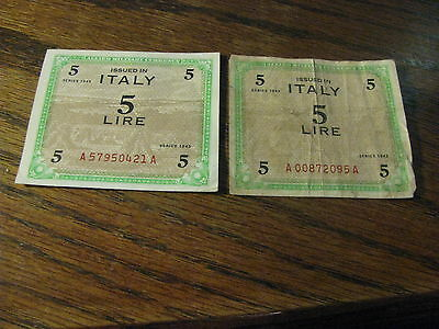 2 Allied Military Currency Italy 5 Lire 1943     Lot# H 68