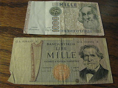 2 Italy Bank Notes Lire Mille 1000     Lot# H 69