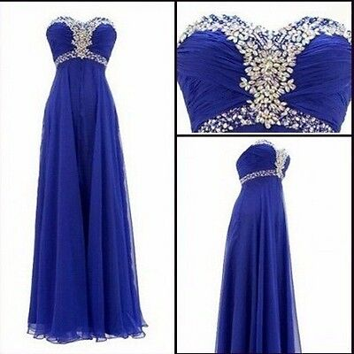 Beaded Long Evening Party Prom Pageant Dress Formal Wedding Bridesmaid Blue Sz 8