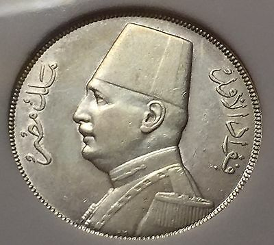 Egypt -UNCIRCULATED Silver Coin 10 Piastres ,King Fuad 1929.rare condition.