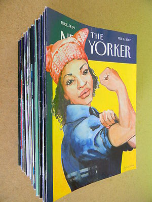 Lot of 50 issues of The New Yorker Magazine from 2014 ~ 2015 ~ 2016 ~ 2017