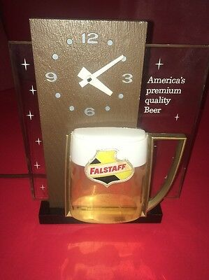 Vintage Falstaff Beer Electric Lighted Advertising Sign & Clock Back Bar Or Hang