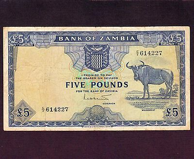 Zambia, 5 Pounds 1964, P-3a * First Issue *