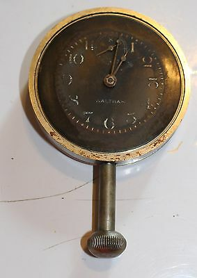 Vintage Waltham 8 Day Classic Car Clock Black Face For parts or restoration USA
