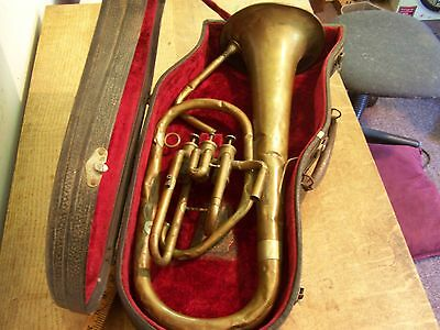 ANTIQUE LYON & HEALY Chicago brass instrument with hardcase