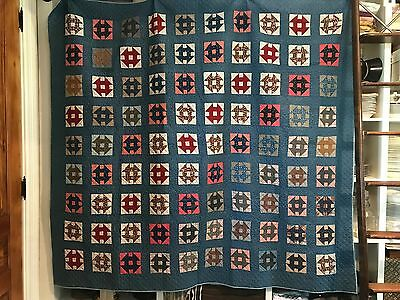 "STUNNING Early 1900's Hand-Pieced Churn Dash 72""x 80"" Quilt UNUSED/UNWASHED"