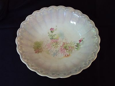 Large Beautiful Antique Victorian Serving Bowl Flowers Scalloped Lusterware #zx3