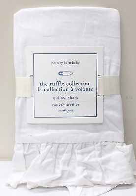NEW Pottery Barn KIDS Ruffle Collection Small Sham, Nursery Baby Bedding, WHITE