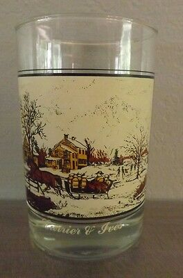 Currier & Ives Arby's Collector Series American Farm in Winter 1981 glass cup