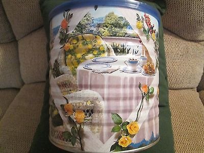 Maxwell House Graphic Coffee Tin: 2005 Spring Country Porch/ Rose Lattice /Dog