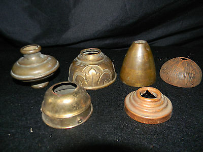 6 Vintage Chandelier Canopy Parts Ceiling Light Lamp Cap Wire Brass