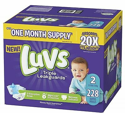 ***NEW*** Luvs Ultra Leakguards Diapers, Size 2, 228 Count ***FREE SHIPPING***