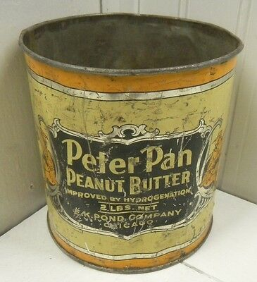 Vintage Metal Can E. K. Pond Company Peater Pan Peanut Butter Empty Tin RARE