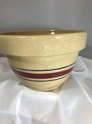 """Vintage Yellow Ware Stoneware 3-Striped Banded 6"""" Mixing Bowl Red/blue Band"""