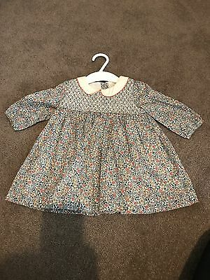 baby girls Liberty for Mamas and Papas smock dress 0-3months NEVER WORN